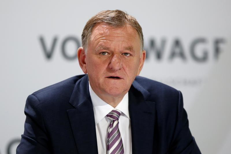 Renschler, member of the Board of Management of Volkswagen AG attends Volkswagen AG annual news conference in Wolfsburg
