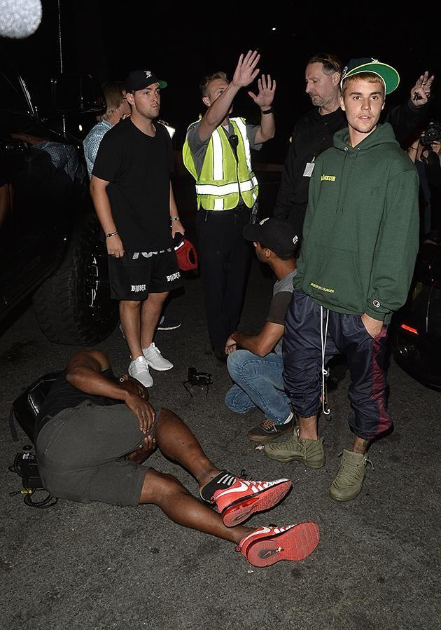 Justin was leaving a Hillsong service at 9:25pm in beverly Hills when he struck the photographer. Source: Splash