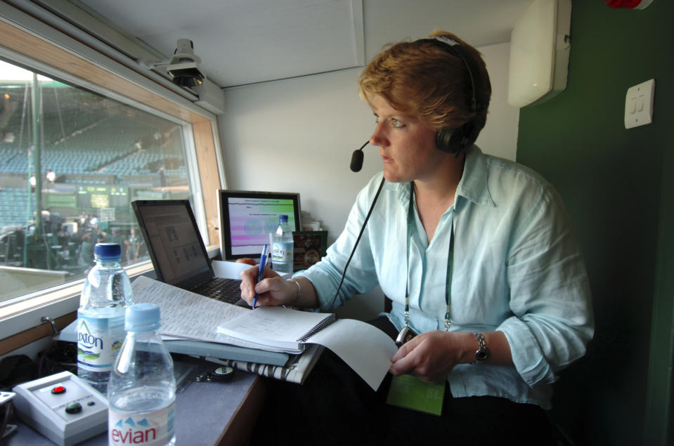 Clare Balding, part of the commentary team at Wimbledon for Radio 5 Live, in the commentary box overlooking Wimbledon Centre Court. (Photo by Jeff Overs/BBC News & Current Affairs via Getty Images)