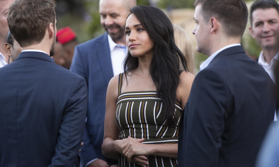 CAPE TOWN, SOUTH AFRICA - SEPTEMBER 24: Meghan Markle during The Duke and Duchess Youth Reception at the British High Commissioner?s Residence at Bishopscourt on September 24, 2019 in Cape Town, South Africa. The Duke and Duchess met a cross-section of inspiring opinion-formers and young future leaders - underlining the rich and diverse nature of the UK?s modern partnership with South Africa. (Photo by Brenton Geach/Gallo Images via Getty Images)