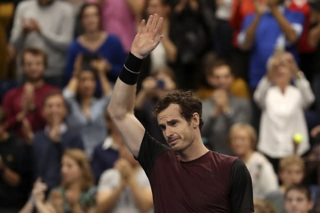 Andy Murray struggles to hold back the tears after sealing victory (Francisco Seco/AP)