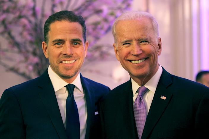Hunter Biden (L) and then U.S. Vice President Joe Biden in 2016 in Washington, DC.  (Teresa Kroeger/Getty Images for World Food Program USA)