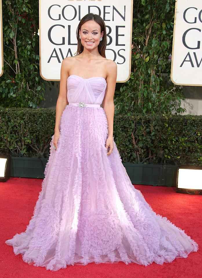 "Olivia Wilde (""House"") looked feminine and frothy in her lavender Reem Acra gown. Frazer Harrison/<a href=""http://www.gettyimages.com/"" target=""new"">GettyImages.com</a> - January 11, 2009"