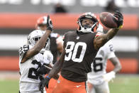 Cleveland Browns wide receiver Jarvis Landry (80) catches the ball as Las Vegas Raiders free safety Lamarcus Joyner (29) defends during the second half of an NFL football game, Sunday, Nov. 1, 2020, in Cleveland. The Raiders won 16-6. (AP Photo/David Richard)
