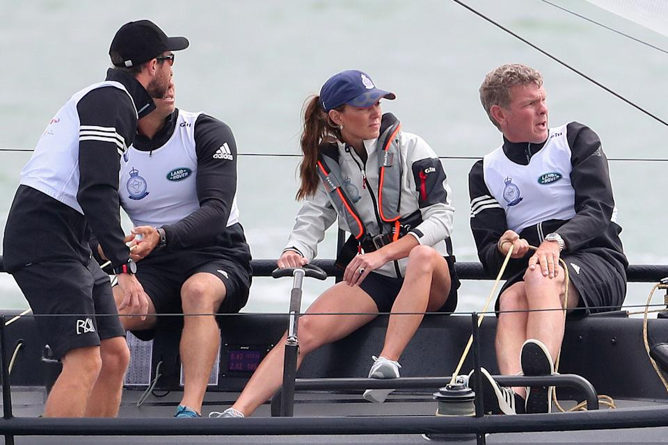 COWES, ENGLAND - AUGUST 08: Catherine, Duchess of Cambridge competing in the inaugural King's Cup regatta hosted by the Duke and Duchess of Cambridge on August 08, 2019 in Cowes, England. Their Royal Highnesses hope that The King's Cup will become an annual event bringing greater awareness to the wider benefits of sport, whilst also raising support and funds for Action on Addiction, Place2Be, the Anna Freud National Centre for Children and Families, The Royal Foundation, Child Bereavement UK, Centrepoint, London's Air Ambulance Charity and Tusk. (Photo by Chris Jackson/Getty Images)