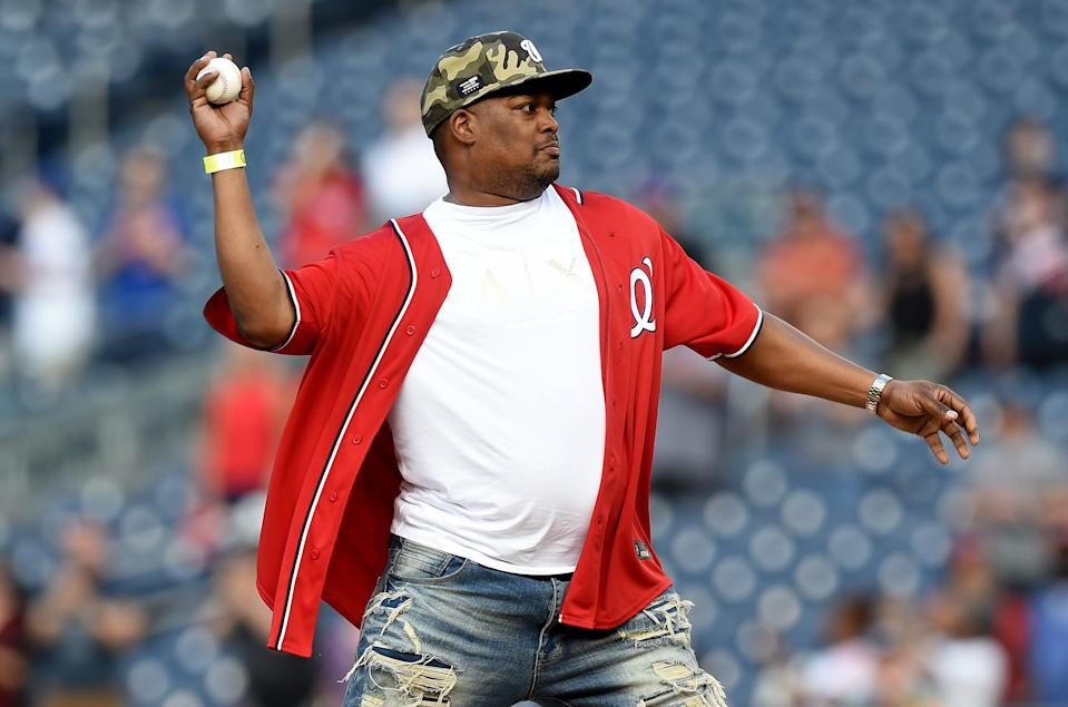 Capitol Police officer Eugene Goodman throws out the first pitch before the game between the Washington Nationals and the New York Mets at Nationals Park on June 18, 2021 in Washington, DC (Getty Images)