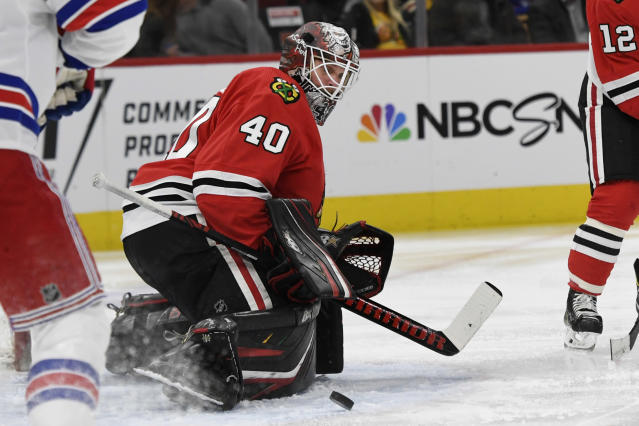 Chicago Blackhawks goalie Robin Lehner (40) of Sweden, makes a save during the second period of an NHL hockey game against the New York Rangers Wednesday, Feb. 19, 2020, in Chicago. (AP Photo/Paul Beaty)