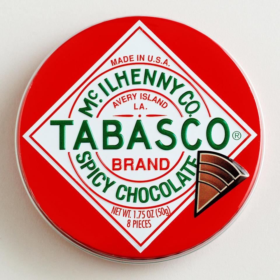 "<h2>The World Market Chocolate Traveler Tabasco® Chocolate Tin</h2><br>Who knew that something as fiery as Tabasco colliding with something as sweet and comforting as chocolate would be...excellent? It's time to spice up your love life. <br><br><em>Shop</em> <strong><em><a href=""https://fave.co/2Vp2HhW"" rel=""nofollow noopener"" target=""_blank"" data-ylk=""slk:The World Market"" class=""link rapid-noclick-resp"">The World Market</a></em></strong><br><br><strong>Tabasco</strong> The Chocolate Traveler Tabasco® Chocolate Tin, $, available at <a href=""https://go.skimresources.com/?id=30283X879131&url=https%3A%2F%2Ffave.co%2F2JqihY3"" rel=""nofollow noopener"" target=""_blank"" data-ylk=""slk:The World Market"" class=""link rapid-noclick-resp"">The World Market</a>"