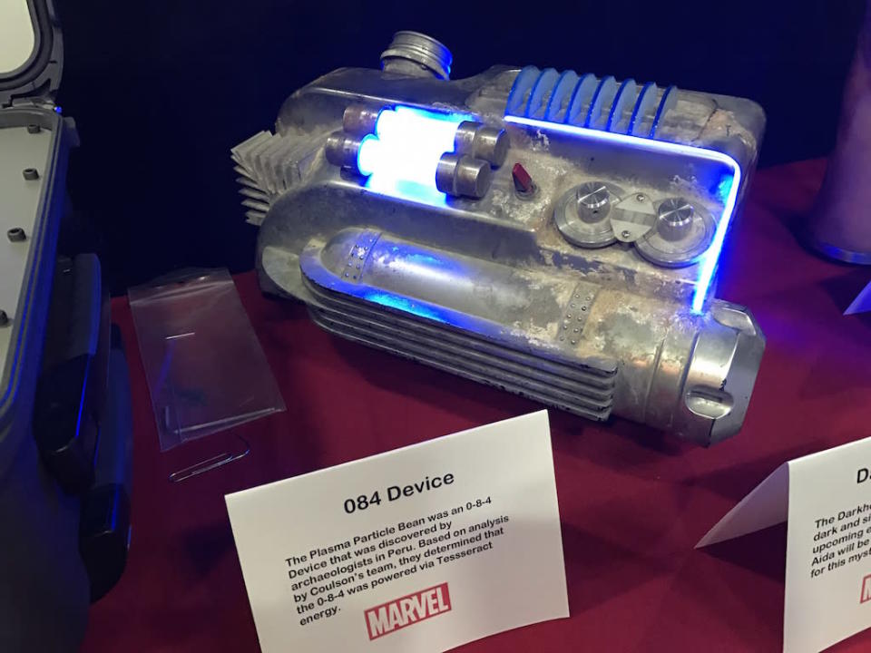 """<p><i>The Plasma Particle Beam was an 0-8-4 Device that was discovered by archaeologists in Peru. Based on analysis by Coulson's team, they determined that the 0-8-4 was powered via Tesseract energy.</i><br>From the <i>Slingshot</i> web series. Bauer says the aesthetic was based on an old Electrolux vacuum cleaner. """"When I built this , I was told 'It's an 084 Device.' 'What's that?' 'We don't know, but we're thinking it wants to be about this big.' And a lot of times, that's the information that I'm given and that's great because it allows me to have so much freedom to design.""""<br>(Credit: Yahoo TV) </p>"""