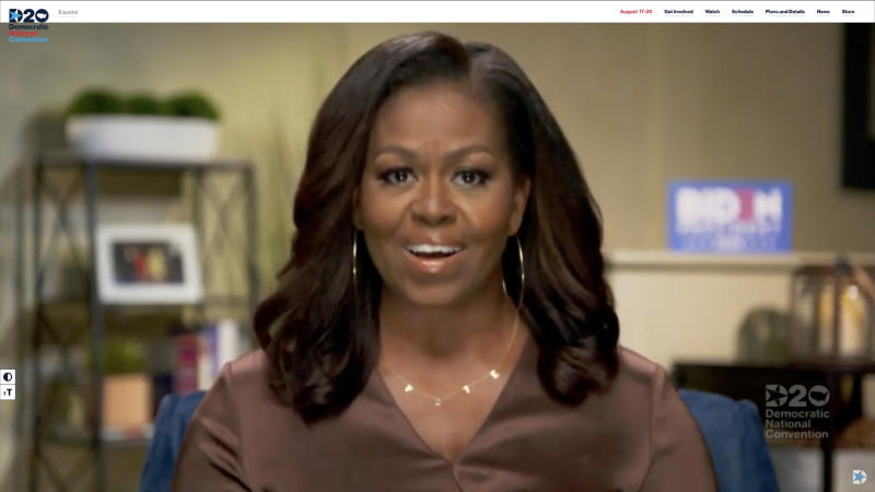 MILWAUKEE, WI - AUGUST 17: In this screenshot from the DNCC's livestream of the 2020 Democratic National Convention, Former First Lady Michelle Obama addresses the virtual convention on August 17, 2020. The convention, which was once expected to draw 50,000 people to Milwaukee, Wisconsin, is now taking place virtually due to the coronavirus pandemic. (Photo by DNCC via Getty Images) (Photo by Handout/DNCC via Getty Images)