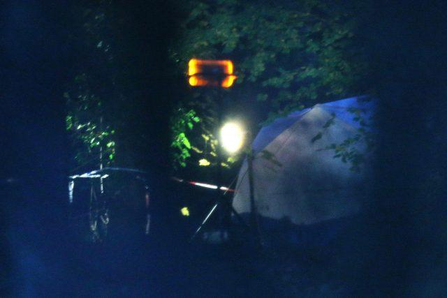 A forensic tent at the scene near Waddesdon