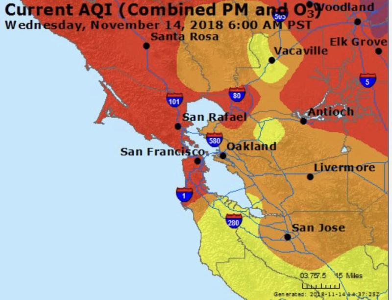 The San Francisco Department of Emergency Management released a map showing the air quality in the Bay Area two days ago. The air quality has worsened to