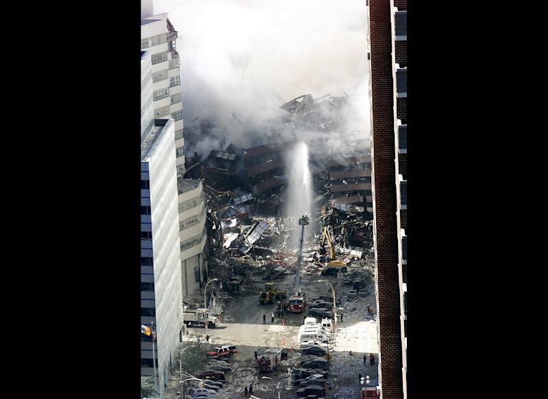 "Hours after the attacks that morning, the 47-story 7 World Trade Center building <a href=""http://www.nysm.nysed.gov/wtc_timeline/zoomify.html"" target=""_hplink"">collapsed</a> from ancillary damage. No one was in the building at the time."