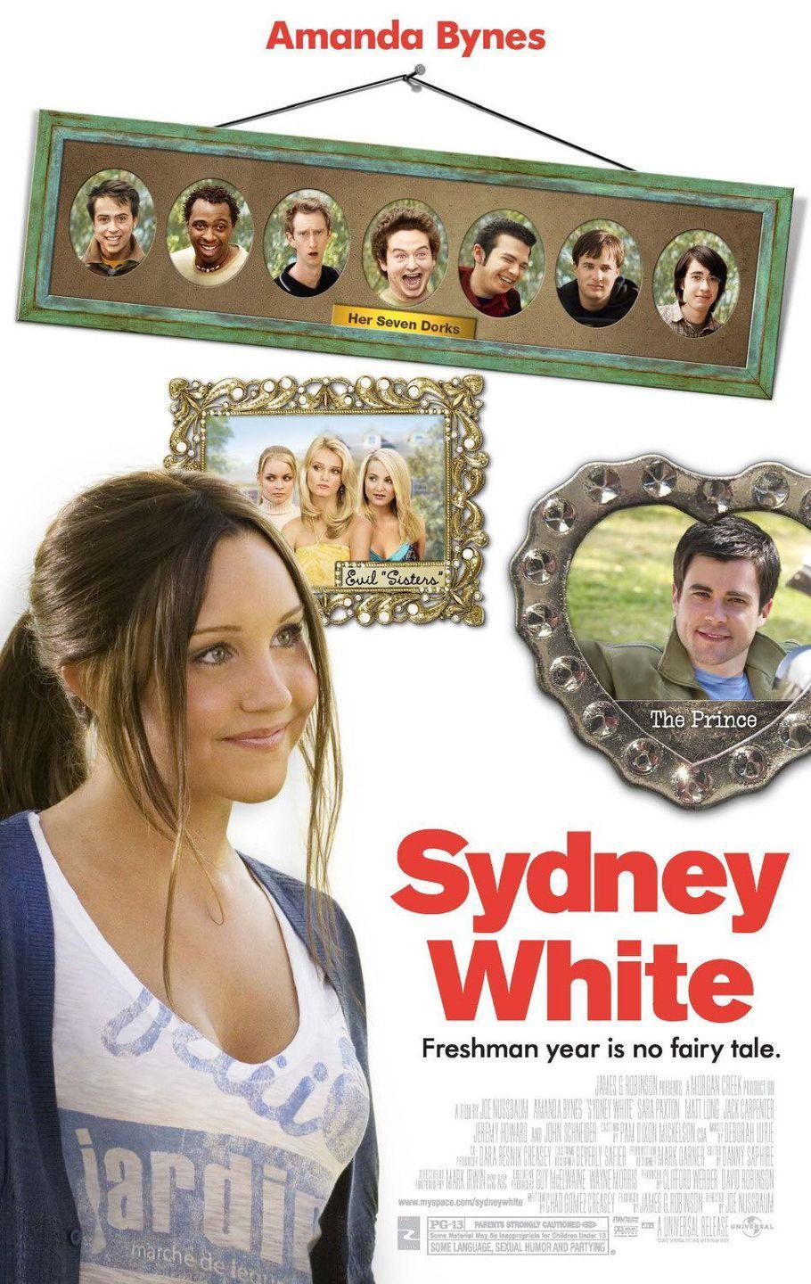 """<p>A college freshman named Sydney White (<strong>Amanda Bynes</strong>) is determined to pledge for her late mother's sorority. Unfortunately, she finds out that the sisterhood is not what it seemed to be, so she joins forces with seven outcasts to take over the student government and make change. As you could probably guess from the film's title, there are major <em>Snow White</em> vibes throughout the flick, so look forward to that.</p><p><a class=""""link rapid-noclick-resp"""" href=""""https://www.amazon.com/Sydney-White-Amanda-Bynes/dp/B0010Z6YOA/ref=sr_1_2?dchild=1&keywords=SYDNEY+WHITE&qid=1596922553&sr=8-2&tag=syn-yahoo-20&ascsubtag=%5Bartid%7C10055.g.33513354%5Bsrc%7Cyahoo-us"""" rel=""""nofollow noopener"""" target=""""_blank"""" data-ylk=""""slk:WATCH NOW"""">WATCH NOW</a></p>"""