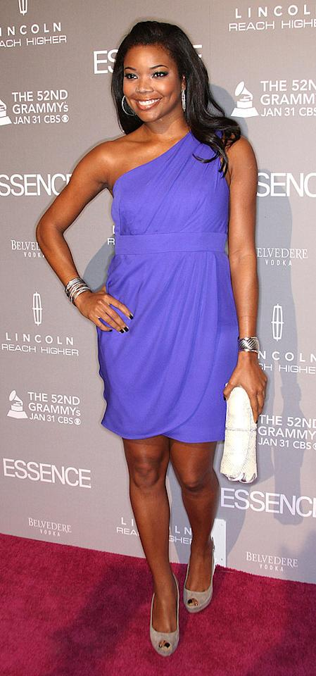 """Also on hand ... the gorgeous Gabrielle Union, who looked lovely in a lilac cocktail frock and suede peep-toes. Frederick M. Brown/<a href=""""http://www.gettyimages.com/"""" target=""""new"""">GettyImages.com</a> - January 27, 2010"""