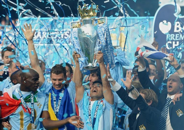 Manchester City celebrate winning the Premier League title in 2012