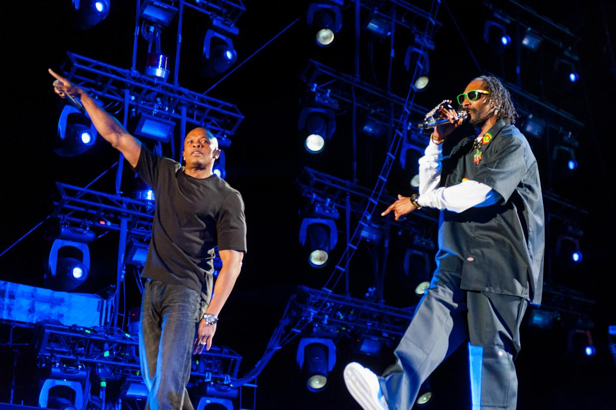INDIO, CA - APRIL 14: Dr. Dre (L) and Snoop Dogg perform as part of Day 2 of the 2012 Coachella Valley Music & Arts Festival at the Empire Polo Fields on April 14, 2012 in Indio, California. (Photo by Paul R. Giunta/Getty Images)