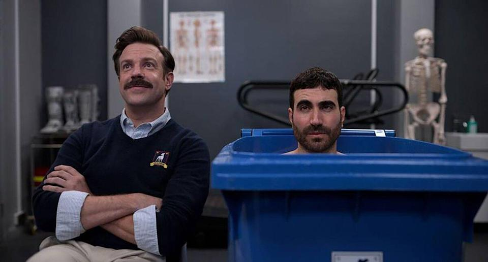 """Jason Sudeikis and Brett Goldstein in """"Ted Lasso,"""" now streaming on Apple TV+"""