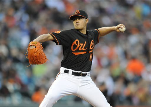 Baltimore Orioles pitcher Wei-Yin Chen delivers against the Los Angeles Dodgers in the first inning of the second baseball game of a doubleheader Saturday, April 20, 2013, in Baltimore. (AP Photo/Gail Burton)