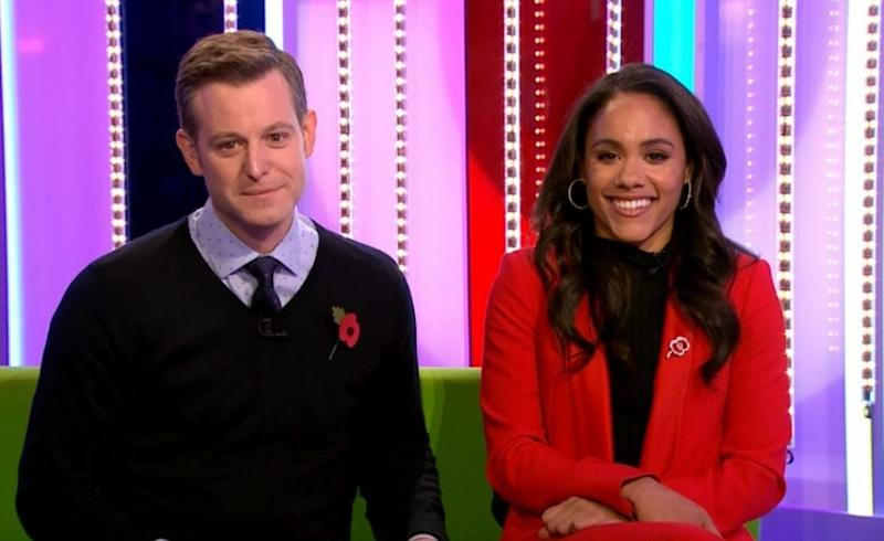 Matt Baker and Alex Scott (R) introduced Mirren with a showreel of some of her most famous characters (BBC)