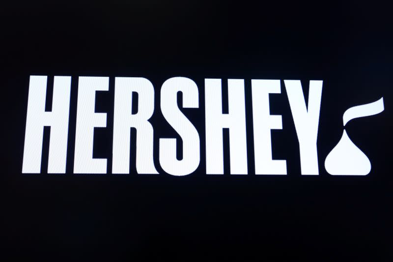 The company logo for Hershey Co. is displayed on a screen on the floor of the NYSE in New York