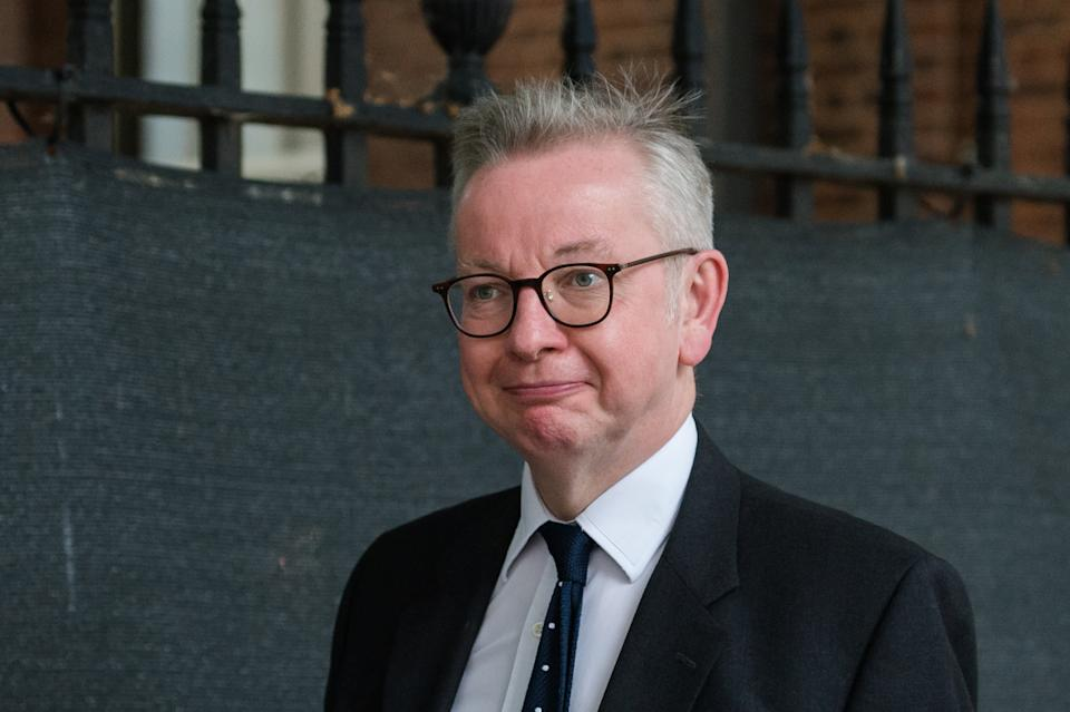 LONDON, UNITED KINGDOM - JUNE 14, 2021: Chancellor of the Duchy of Lancaster Michael Gove leaves Downing Street on June 14, 2021 in London, England. British Prime Minister Boris Johnson expected to announce today a delay of up to four weeks to lifting of Englands Covid-19 restrictions in an effort to tackle the rise of infections caused by the Delta variant of the coronavirus, which now accounts for more than 90% of new cases in the UK. (Photo credit should read Wiktor Szymanowicz/Barcroft Media via Getty Images)