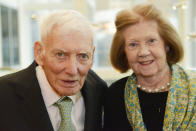 In this April 16, 2015, photo, Dan and Patricia Rooney attend the 42nd Art Rooney Awards in Pittsburgh. Patricia Rooney, the wife of late Pittsburgh Steelers chairman Dan Rooney, has died. She was 88. The Steelers said in a statement that Patricia Rooney died peacefully at her home Saturday, Jan. 30, 2021. A cause of death was not given. (Rebecca Droke/Pittsburgh Post-Gazette via AP)