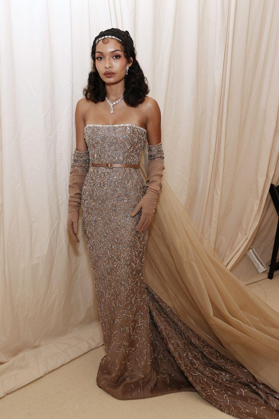 <p>Yara Shahidi wore an embellished gown by Christian Dior.</p>