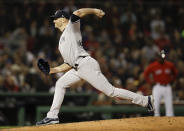 New York Yankees starting pitcher J.A. Happ throws to a Boston Red Sox batter during the third inning of Game 1 of a baseball American League Division Series on Friday, Oct. 5, 2018, in Boston. (AP Photo/Charles Krupa)