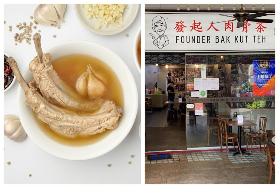 The Founder Bak Kut Teh chain of restaurants appealed to customers for support on 15 July 2020 to avoid shutting for good as business plummeted during COVID-19 restrictions. The picture on the right is of the Bugis outlet. (Photos: Founder Bak Kut Teh)