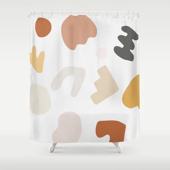 "We've never met an abstract blobby pattern we didn't like. <a rel=""nofollow"" href=""https://society6.com/product/shape-study-14-blocks_shower-curtain?sku=s6-7618093p34a35v287"" rel=""nofollow"">SHOP NOW</a>: Abstract Shape Series Shower Curtain in Autumn by This Weekend Studio, $70, society6.com"