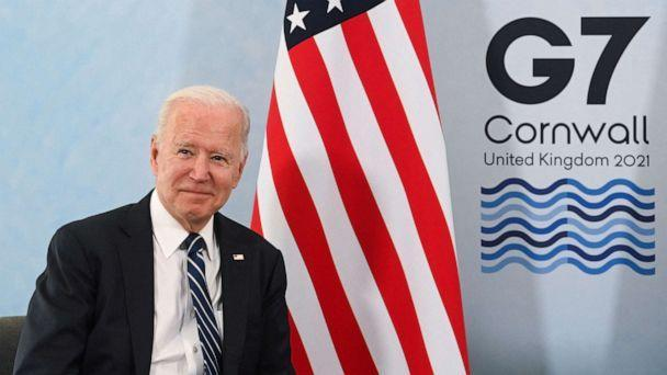 PHOTO: President Joe Biden poses for a picture during a meeting ahead of the G7 summit at Carbis Bay, Cornwall, June 10, 2021. (Toby Melville/POOL/AFP via Getty Images)