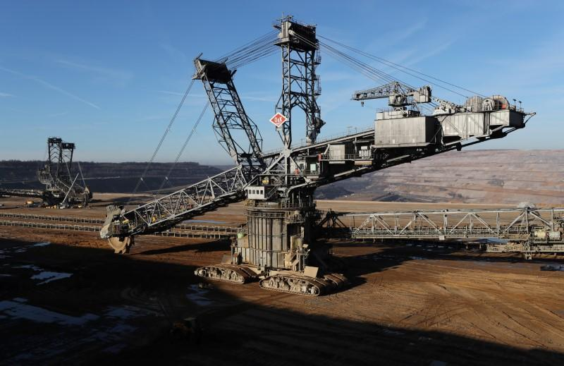 Excavators of German utility RWE stand in the open-cast brown coal mining area of Hambach