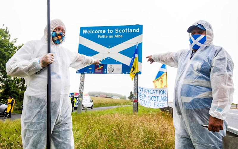 Protests took place on the Scotland England border earlier this year - Euan Cherry/Euan Cherry