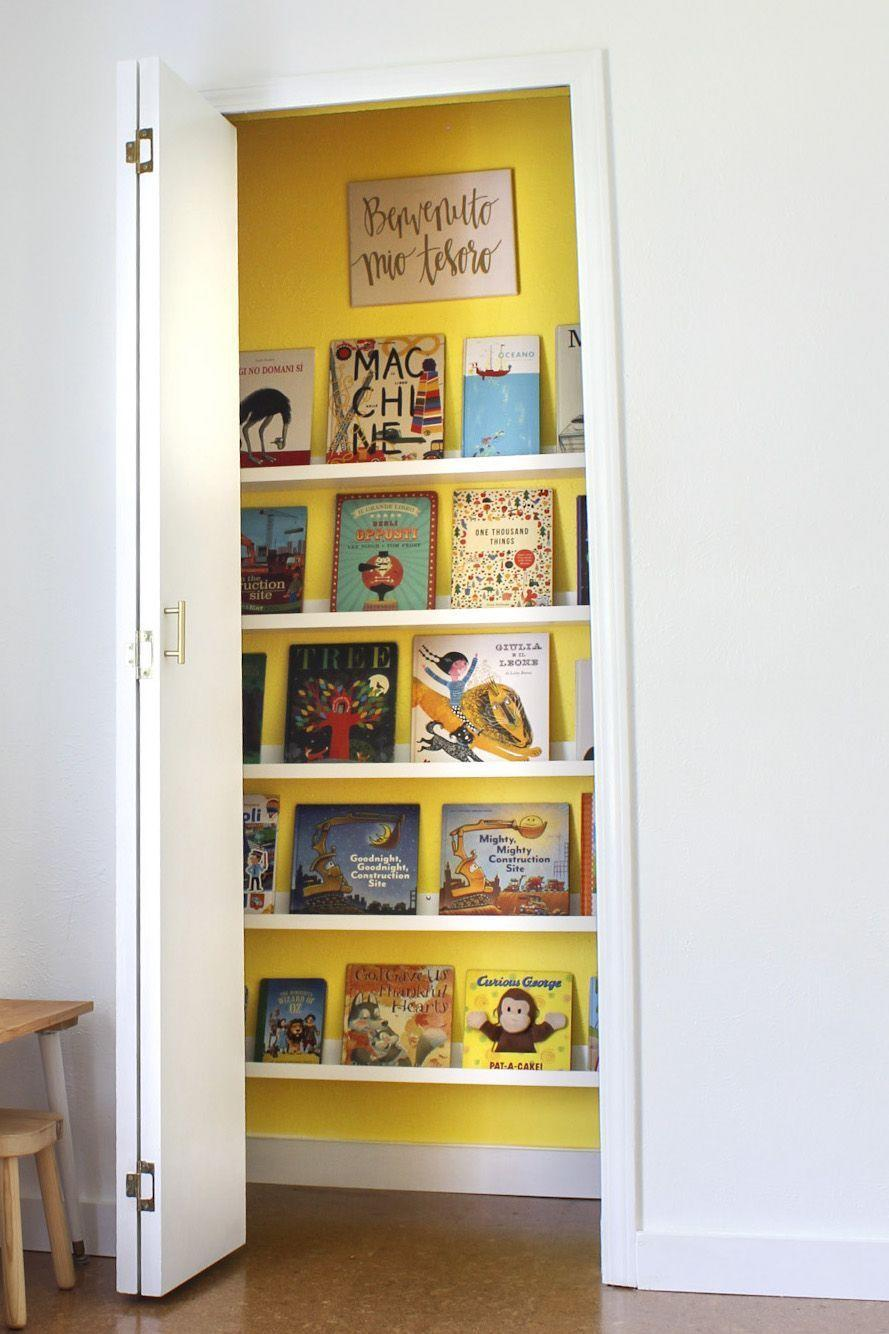 """<p>Make reading a joy for your child by turning a drab closet into a charming haven for books, as seen in this setup from DIY home designer <a href=""""https://www.dwellaware.me/"""" rel=""""nofollow noopener"""" target=""""_blank"""" data-ylk=""""slk:Amanda Walker"""" class=""""link rapid-noclick-resp"""">Amanda Walker</a>. Paint the walls in a bold shade, like yellow, to make the small space a focal point. </p>"""