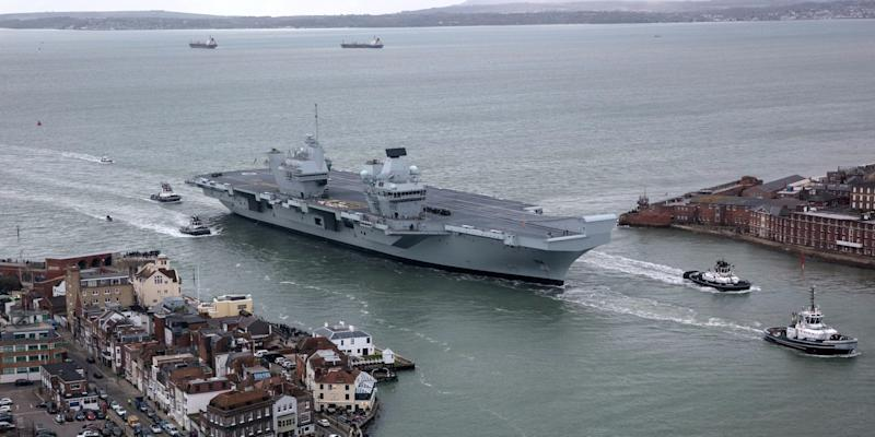 HMS Queen Elizabeth returns to Portsmouth after sea trials.