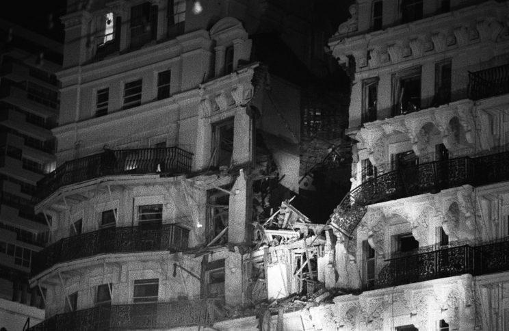 The scene after an IRA exploded a bomb at the Grand Hotel in Brighton (PA)