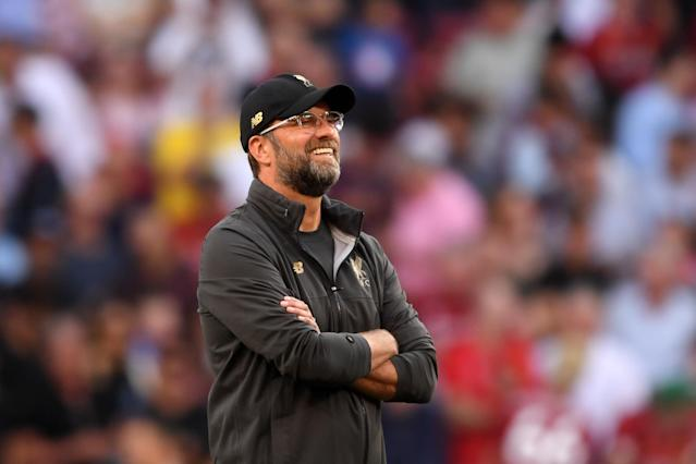 Jurgen Klopp, Manager of Liverpool looks on during the warm up (Photo by Laurence Griffiths/Getty Images)