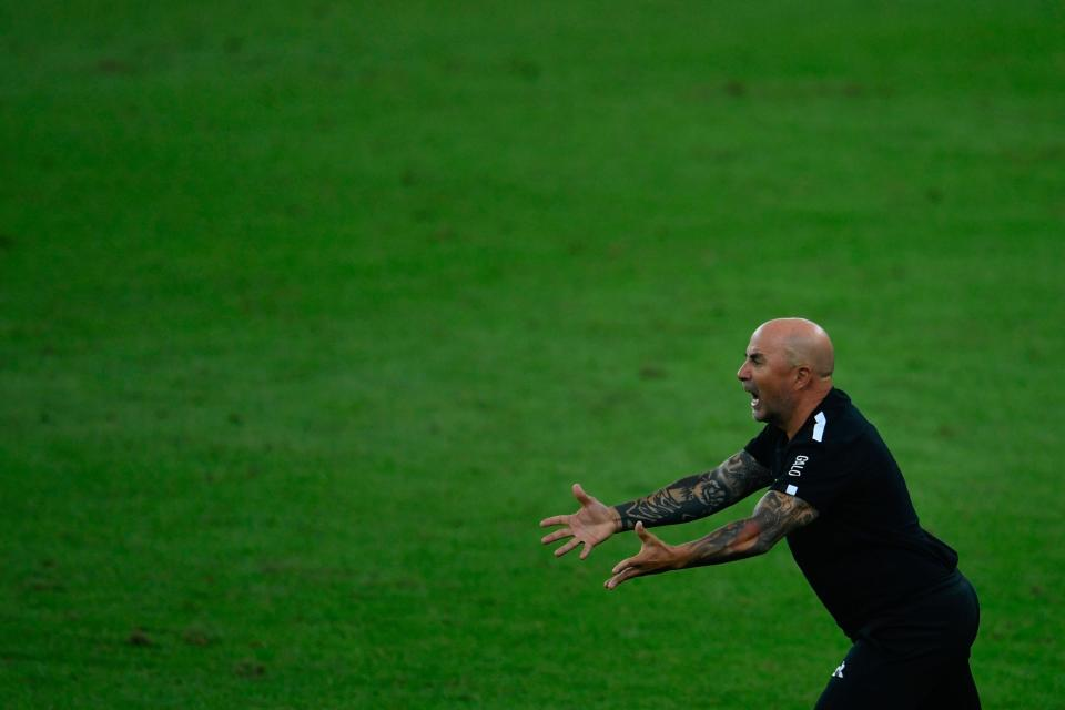 Atletico Mineiro's coach, Argentine Jorge Sampaoli, reacts during the first round match of the Brazilian Football Championship against Flamengo at the Maracana stadium in Rio de Janeiro, Brazil, on August 9, 2020. - The match is played behind closed doors as a measure to combat the spread of the novel coronavirus COVID-19. (Photo by Mauro PIMENTEL / AFP) (Photo by MAURO PIMENTEL/AFP via Getty Images)