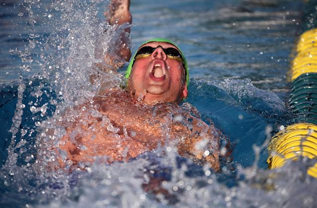 MESA, AZ - APRIL 16: Ryan Lochte competes in the finals of the men's 200 meter backstroke at the Skyline Aquatic Center on April 16, 2016 in Mesa, Arizona. (Photo by Chris Coduto/Getty Images)