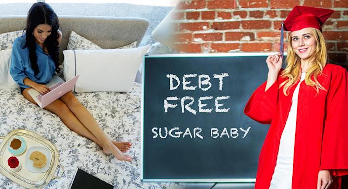 """A Sugar Daddy website promotes directly to university students, promising a """"debt free"""" route through education. [Photo: Seeking Arrangement]"""