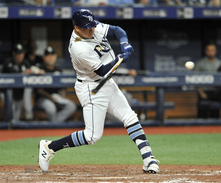 Tampa Bay Rays' Avisail Garcia hits a solo home run off Chicago White Sox starter Lucas Giolito during the seventh inning of a baseball game Saturday, July 20, 2019, in St. Petersburg, Fla. (AP Photo/Steve Nesius)