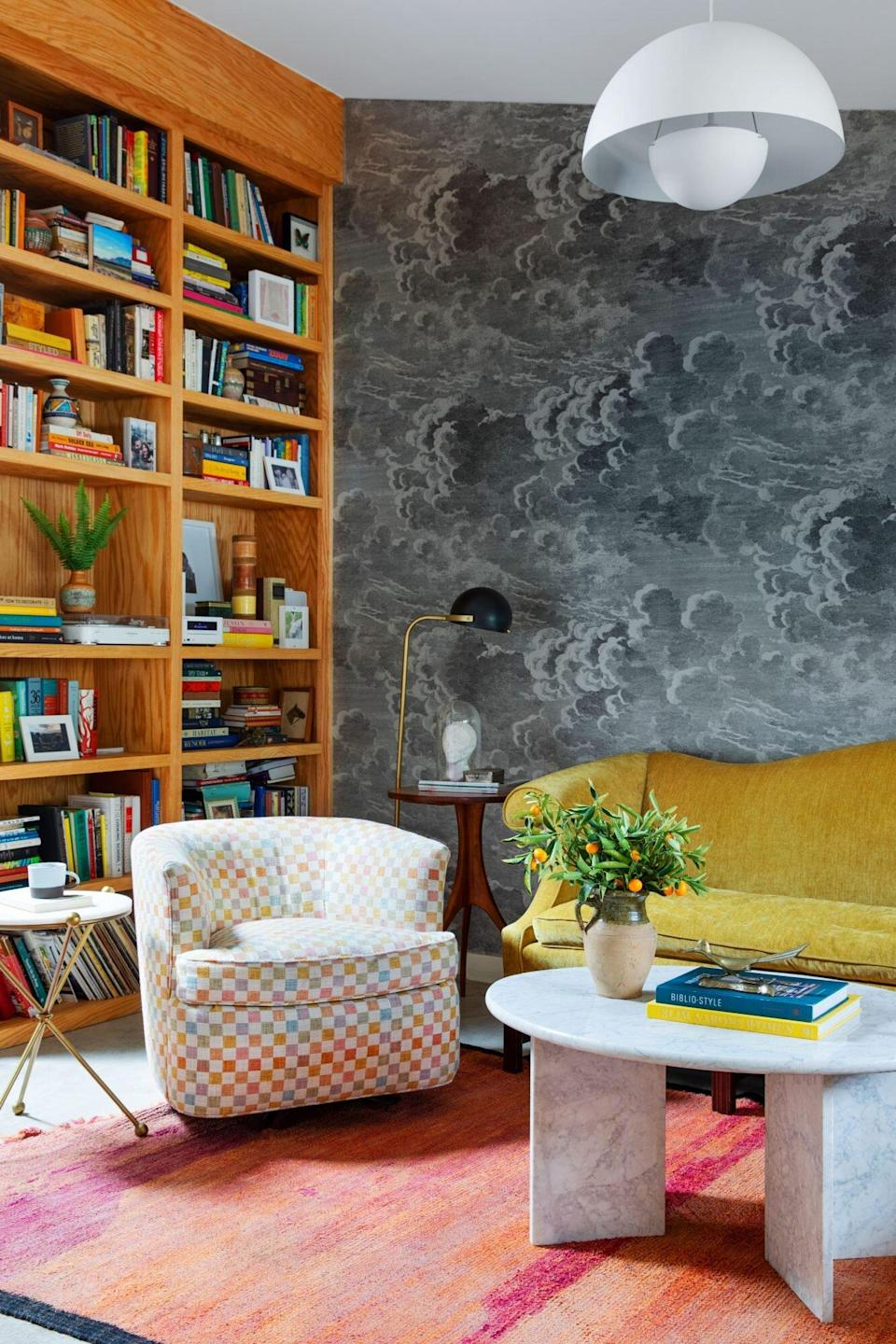 Mid-Century colorful sitting room with yellow sofa