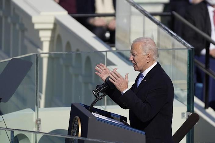 Washington , DC - January 20: U.S. President Joe Biden delivers his inaugural address on the West Front of the U.S. Capitol on Wednesday, Jan. 20, 2021 in Washington , DC. (Kent Nishimura / Los Angeles Times)