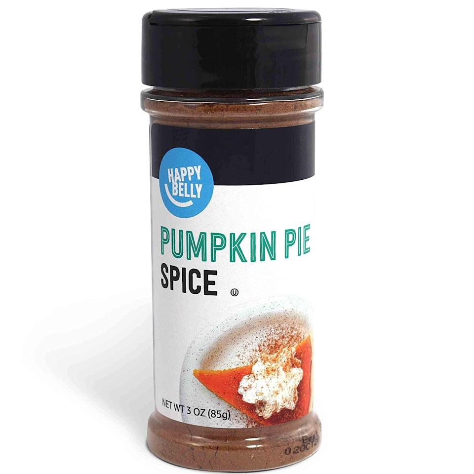 "<p>Add some <product href=""https://www.amazon.com/Amazon-Brand-Happy-Pumpkin-Ounces/dp/B07W2VY2NQ/ref=sxin_9_fs_dsk_ap_sira_0o_fs?cv_ct_cx=pumpkin+spice&amp;dchild=1&amp;keywords=pumpkin+spice&amp;pd_rd_i=B07W2VY2NQ&amp;pd_rd_r=bf1c14c2-f4ff-43a4-a5f4-c70f1bbc4dba&amp;pd_rd_w=nGuI5&amp;pd_rd_wg=oi1sX&amp;pf_rd_p=39c09509-7950-4dbd-930e-65e0c54e3297&amp;pf_rd_r=4MGZKCNB5E0KF55E0DRA&amp;qid=1600891191&amp;sr=1-1-de796a8d-a42f-4211-bede-243b78faef8a"" target=""_blank"" class=""ga-track"" data-ga-category=""internal click"" data-ga-label=""https://www.amazon.com/Amazon-Brand-Happy-Pumpkin-Ounces/dp/B07W2VY2NQ/ref=sxin_9_fs_dsk_ap_sira_0o_fs?cv_ct_cx=pumpkin+spice&amp;dchild=1&amp;keywords=pumpkin+spice&amp;pd_rd_i=B07W2VY2NQ&amp;pd_rd_r=bf1c14c2-f4ff-43a4-a5f4-c70f1bbc4dba&amp;pd_rd_w=nGuI5&amp;pd_rd_wg=oi1sX&amp;pf_rd_p=39c09509-7950-4dbd-930e-65e0c54e3297&amp;pf_rd_r=4MGZKCNB5E0KF55E0DRA&amp;qid=1600891191&amp;sr=1-1-de796a8d-a42f-4211-bede-243b78faef8a"" data-ga-action=""body text link"">Happy Belly Pumpkin Pie Spice</product> ($3) to your smoothies or baked goods. I make a morning pumpkin spice vanilla protein shake that's mouthwateringly delicious.</p>"