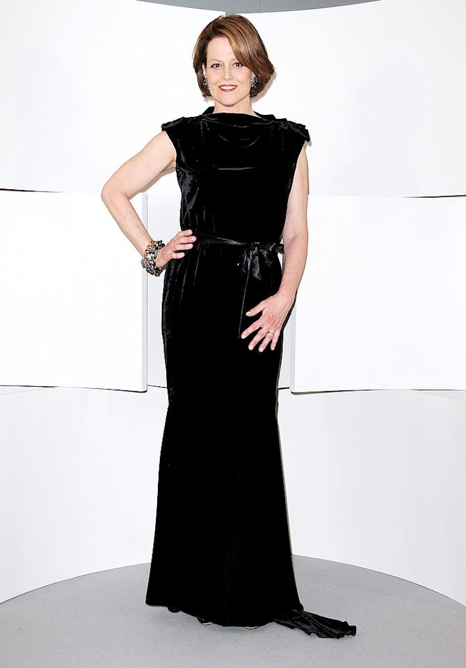 """Sigourney Weaver gave Marion a run for her money at the Cesar's with her elegant black gown. If only we all could look this amazing at 60! Francois Durand/<a href=""""http://www.wireimage.com"""" target=""""new"""">WireImage.com</a> - February 27, 2010"""