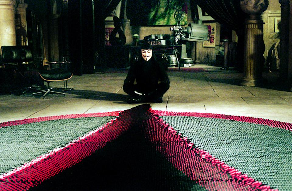 V makes his grand designs for regime change in 'V for Vendetta' (Photo: Warner Brothers/courtesy Everett Collection)
