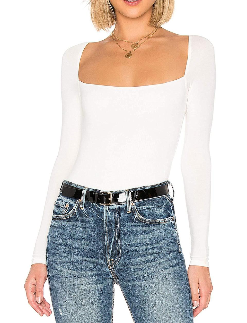 """<h2>Maya Maya Square-Neck Bodysuit</h2><br>A square-cut neckline gives this basic bodysuit a streamlined edge ideal for layering under a pair of tailored trousers. It also comes in some scintillating summer shades like red and hot pink. <br><br><strong>MAYA MAYA</strong> Long Sleeve Square-Cut Bodysuit, $, available at <a href=""""https://amzn.to/382xQvN"""" rel=""""nofollow noopener"""" target=""""_blank"""" data-ylk=""""slk:Amazon"""" class=""""link rapid-noclick-resp"""">Amazon</a>"""