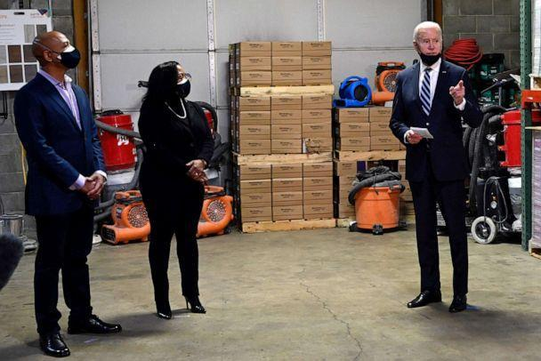 PHOTO: President Joe Biden visits Smith Flooring, a small minority-owned business, to promote his American Rescue Plan in Chester, Pa., March 16, 2021. (Andrew Caballero-reynolds/AFP via Getty Images)