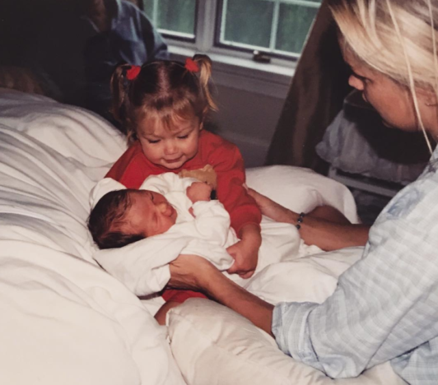 "<p>The model wished her little sis, Bella, a happy birthday with this throwback. ""TOMORROW WILL BE 21 YEARS SINCE I MET MY FOREVER BESTIE,"" she wrote along with this throwback, which also features their mom, Yolanda. (Photo: Gigi Hadid via Instagram) </p>"
